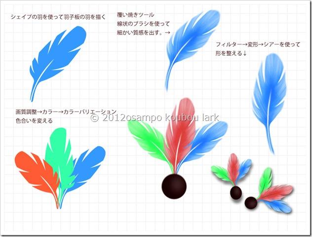 羽子板の羽根の描き方